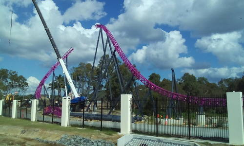 Inclined dive loop goes up on Movie World's hypercoaster