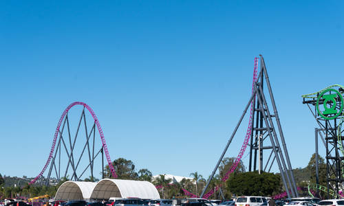 The final elements in place on DC Rivals HyperCoaster