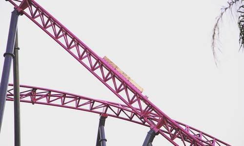 Trim brakes installed on DC Rivals HyperCoaster as testing continues
