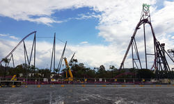 Track comes down from DC Rivals HyperCoaster during annual maintenance