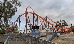 Steel Taipan rises over Log Ride rubble at Dreamworld